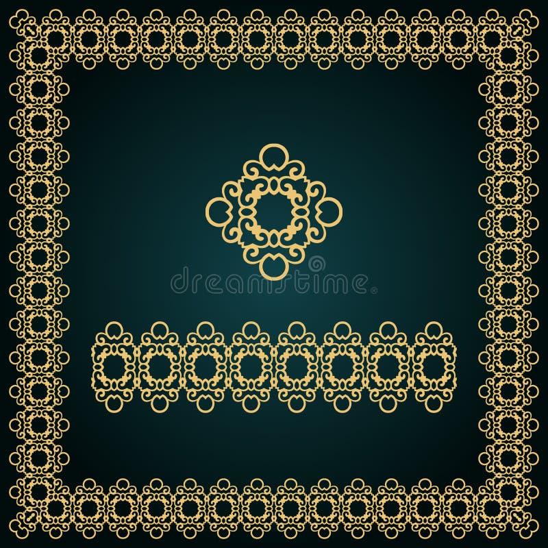 Goldener quadratischer Rahmen mit Logo und nahtloser Grenze stockfotografie