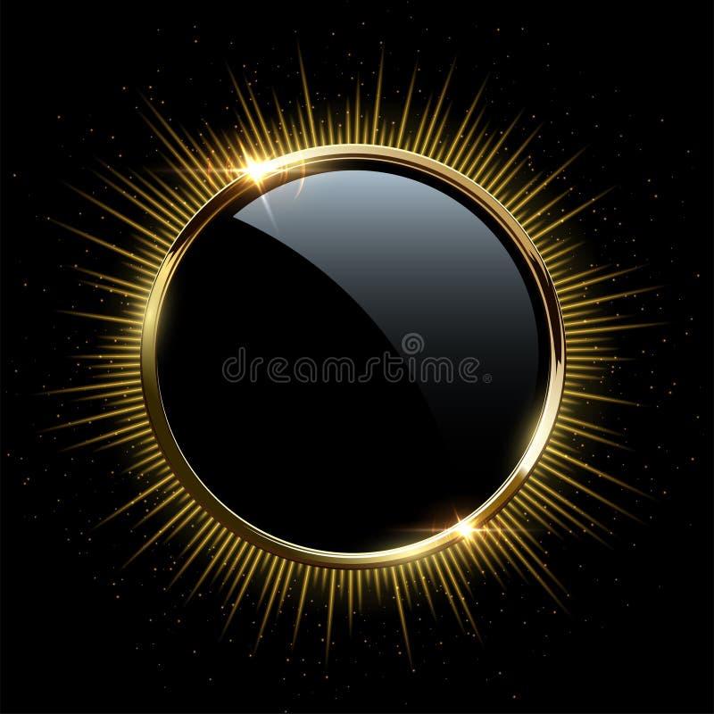Goldener Rahmen des Vektors Goldener funkelnder Ring mit den Strahlen lokalisiert auf schwarzem Hintergrund lizenzfreie abbildung