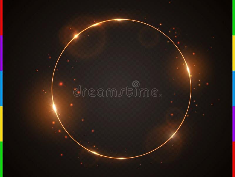 Goldener Rahmen des Vektors mit Lichteffektaufflackern und -funken Glänzende runde Weihnachtsfahne Glühenring auf schwarzem trans vektor abbildung