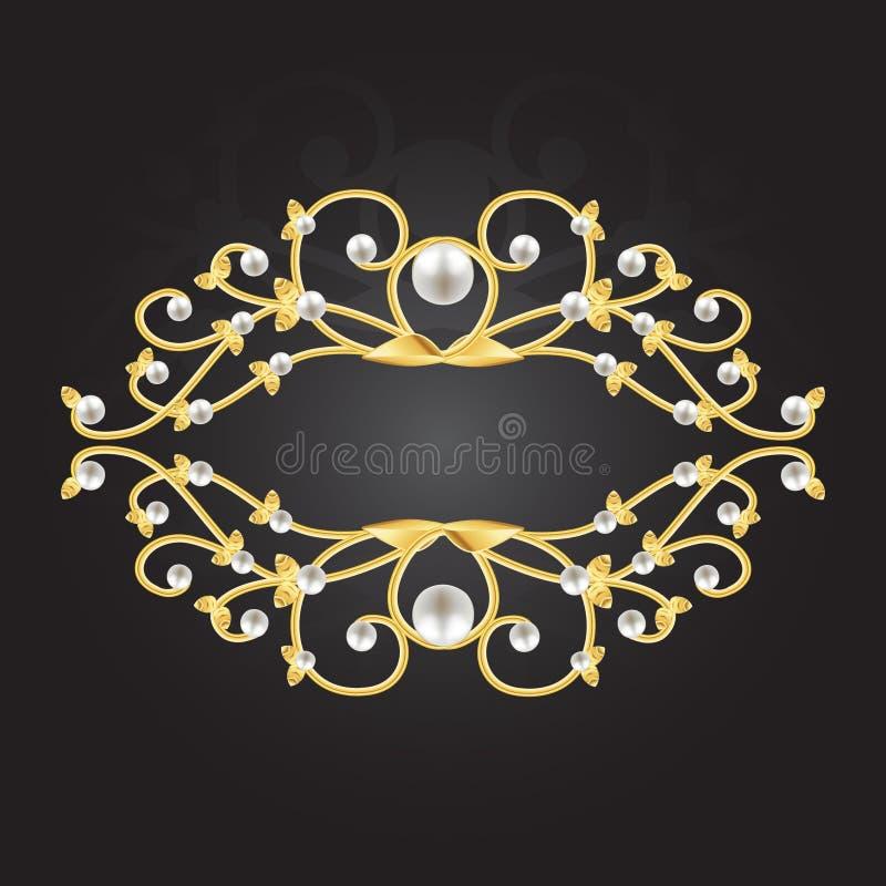 Goldener Rahmen mit Perlen lizenzfreie abbildung