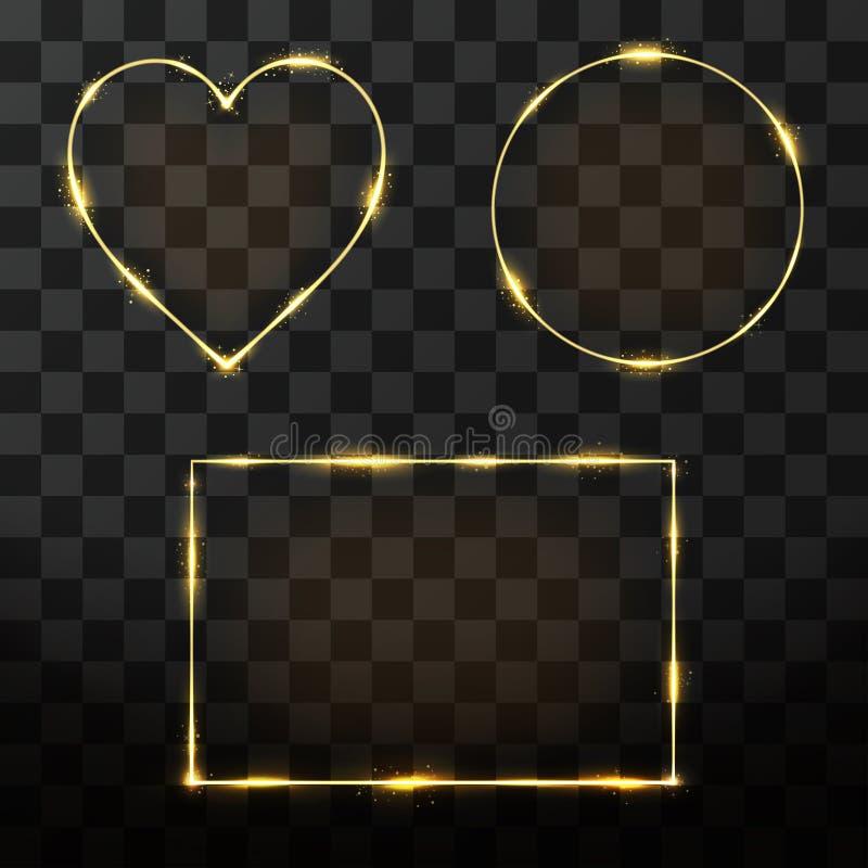 Goldener Rahmensatz des Vektors mit Glüheneffekt Neonrechteck-, Kreis- und Herzrahmen stock abbildung