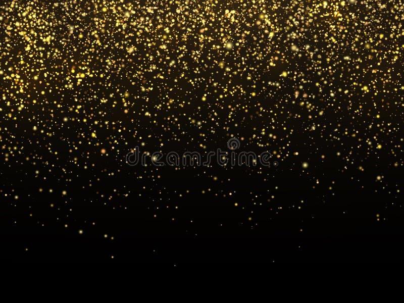 Goldener Regen lokalisiert auf schwarzem Hintergrund Feierliche Tapete des Vektorgoldkorngefüges vektor abbildung