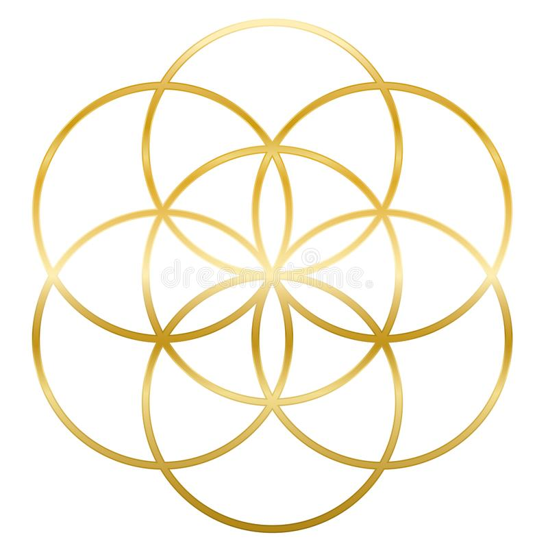 Goldener Samen der Leben-Blume des Lebens lizenzfreie abbildung
