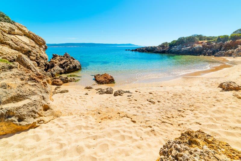 Goldener Sand und Felsen in einer kleinen Bucht von Alghero stockbilder