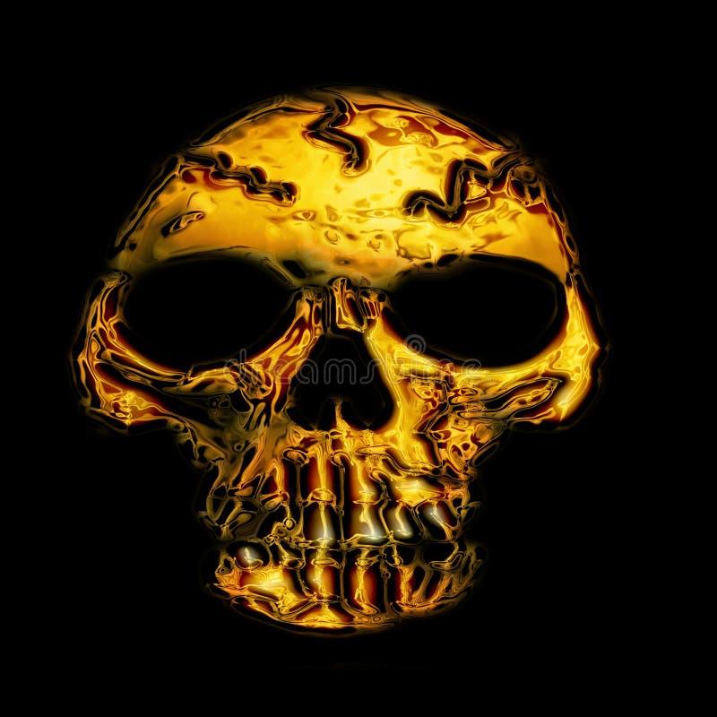 Goldener Schädel stock abbildung