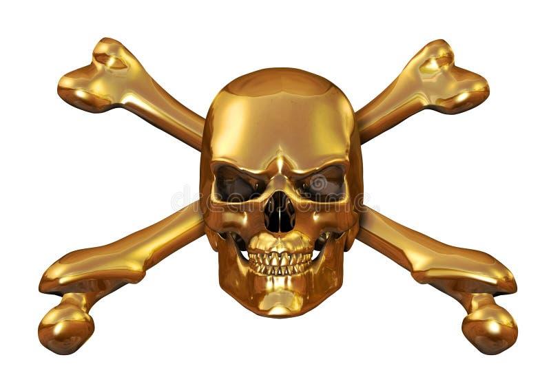 Goldener Schädel und gekreuzte Knochen vektor abbildung
