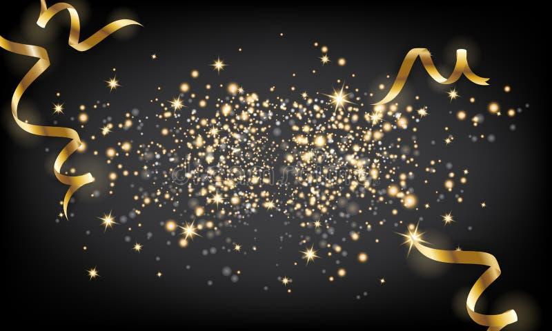 Goldener Scheinpartikel und fallender Bandhintergrund Vektor IL lizenzfreie abbildung