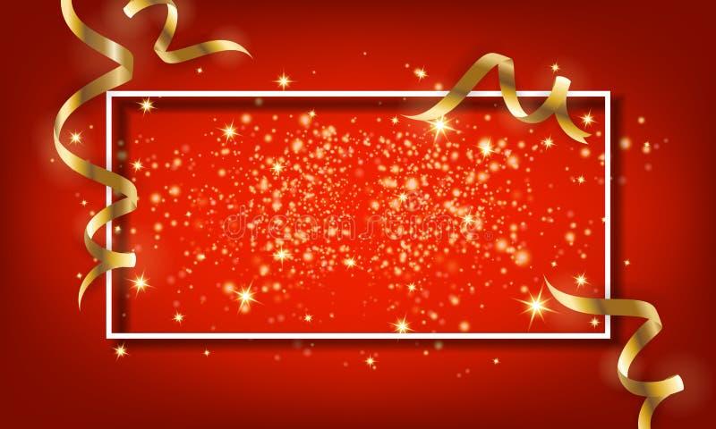 Goldener Scheinpartikel und fallender Bandhintergrund Vektor IL vektor abbildung