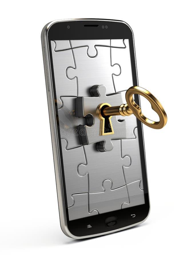 Goldener Schlüssel, Puzzlespiel und Handy stock abbildung