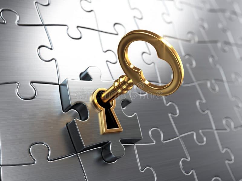 Goldener Schlüssel und Puzzlespiel vektor abbildung
