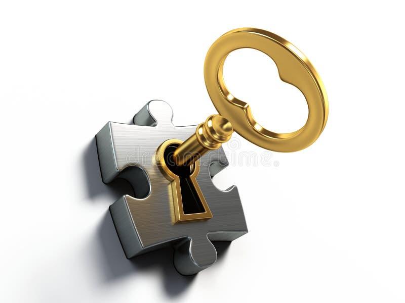 Goldener Schlüssel und Puzzlespiel stock abbildung