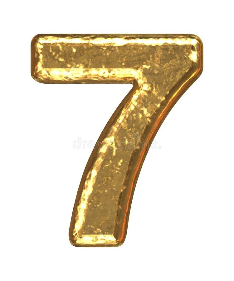 Goldener Schrifttyp. Nr. sieben stockbild