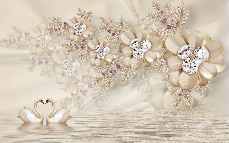 goldener Schwan der Wandillustration 3d auf Wasser mit dekorativem Blumenhintergrund Schmuck, Ball 3d vektor abbildung