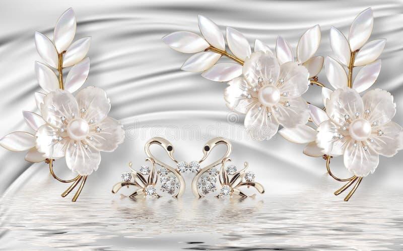 goldener Schwan der Wandillustration 3d auf Wasser mit dekorativem Blumenhintergrund Schmuck, Ball 3d lizenzfreie abbildung