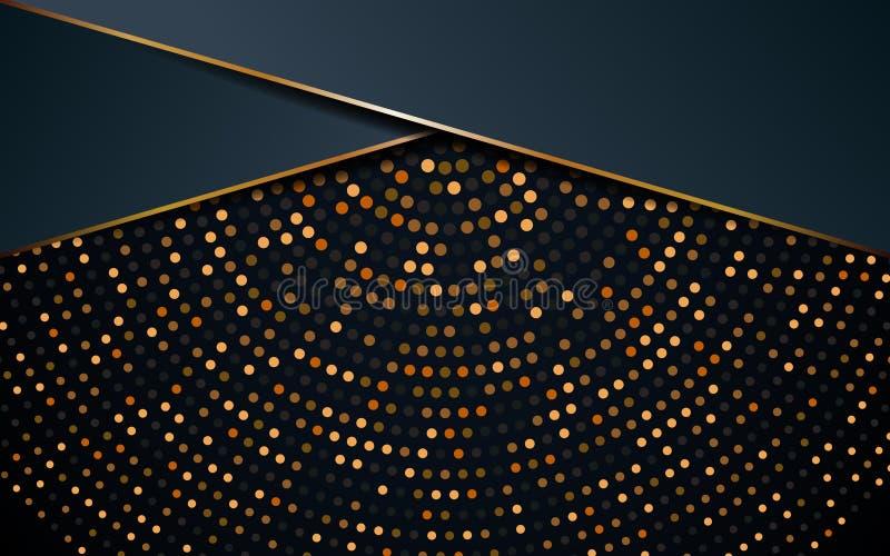 Goldener schwarzer Luxushintergrund mit Gold funkelt Vektorillustration stock abbildung