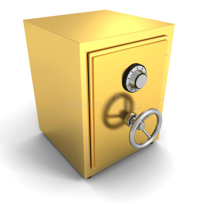 Goldener sicherer Banktresor auf weißem Hintergrund stock abbildung