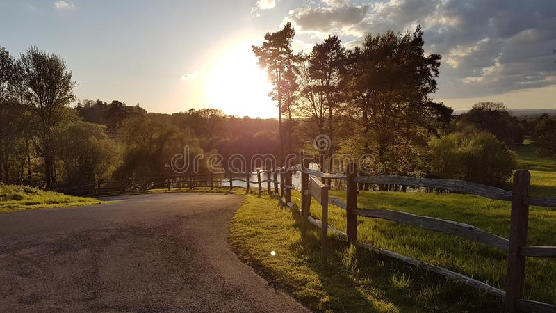 Goldener Sonnenuntergang über Teichzaun lizenzfreies stockbild