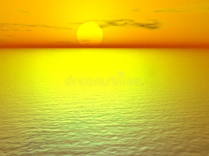Goldener Sonnenuntergang lizenzfreie abbildung