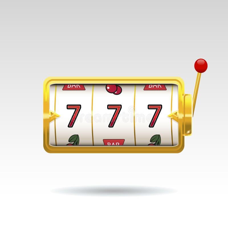 Goldener Spielautomat gewinnt den Jackpot stock abbildung