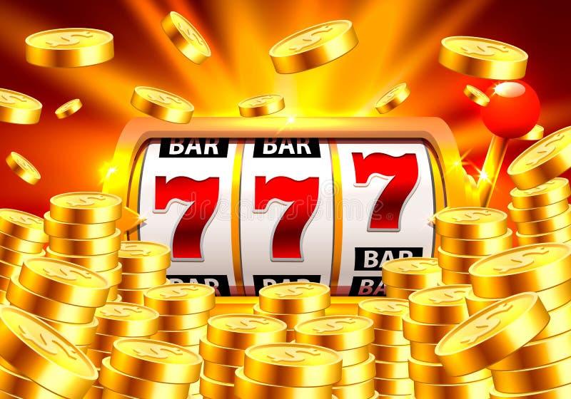 Goldener Spielautomat gewinnt den Jackpot vektor abbildung