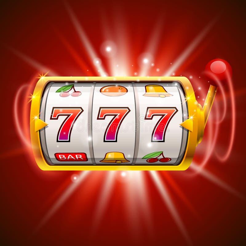 Goldener Spielautomat gewinnt den Jackpot auf rotem Hintergrund lizenzfreie abbildung