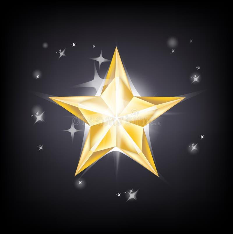 Goldener Stern, der auf bewölktem Himmel glänzt stock abbildung