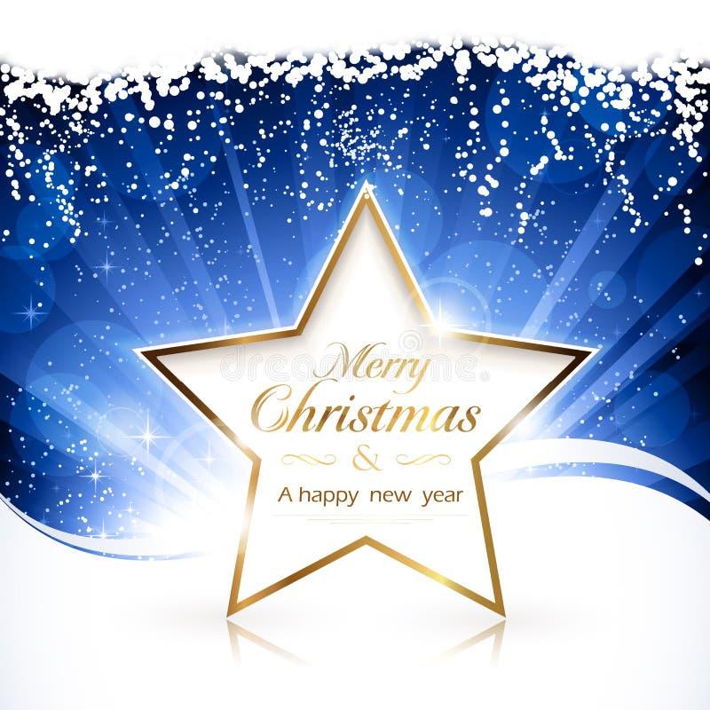 Goldener Stern der frohen Weihnachten lizenzfreie abbildung