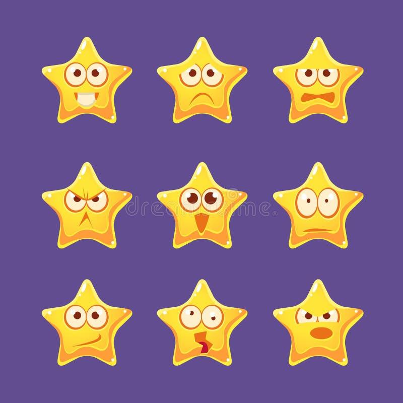 Goldener Stern Emoji-Zeichensatz vektor abbildung