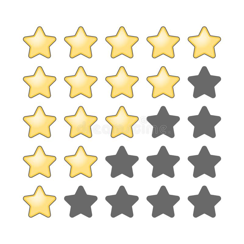 goldener Stern 5 in Folge Bericht und Feedback stock abbildung