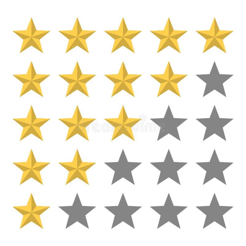 goldener Stern 5 in Folge Bericht und Feedback vektor abbildung