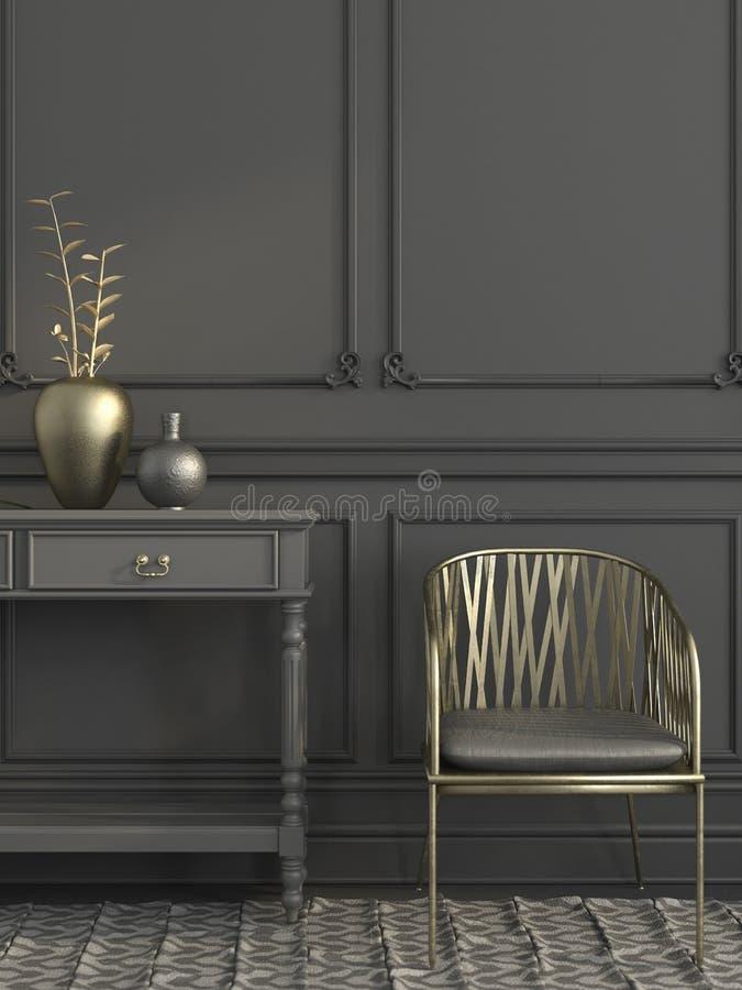 Goldener Stuhl im grauen Innenraum lizenzfreie abbildung