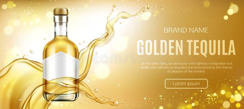 Goldener Tequilaflaschenspott herauf die Werbung der Fahne stock abbildung