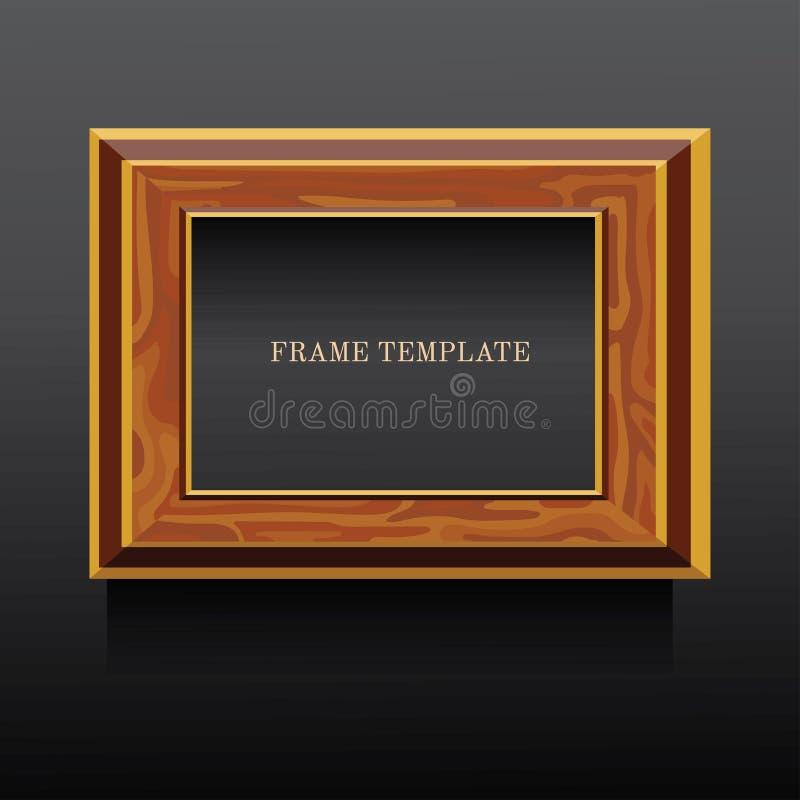 Goldener und brauner hölzerner klassischer Rahmen auf dunklem Hintergrund stock abbildung