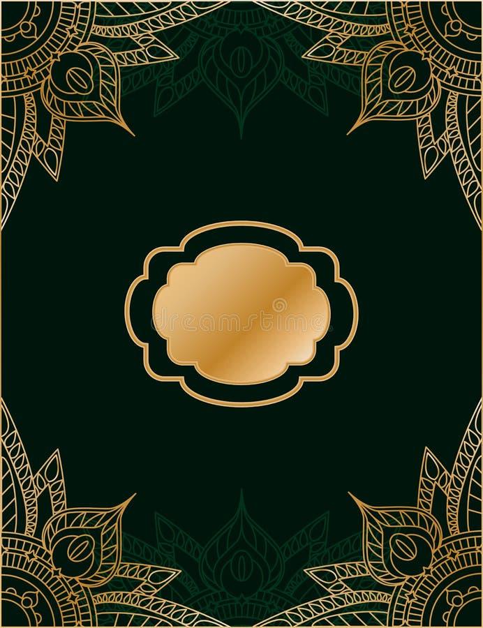 Goldener und grüner Hintergrund in der arabischen oder persischen Art stock abbildung