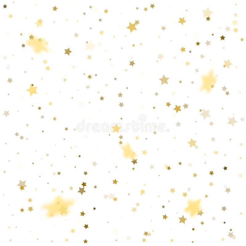 Goldener und silberner Stern Confetti Festliche Illustration des Vektors lizenzfreie abbildung