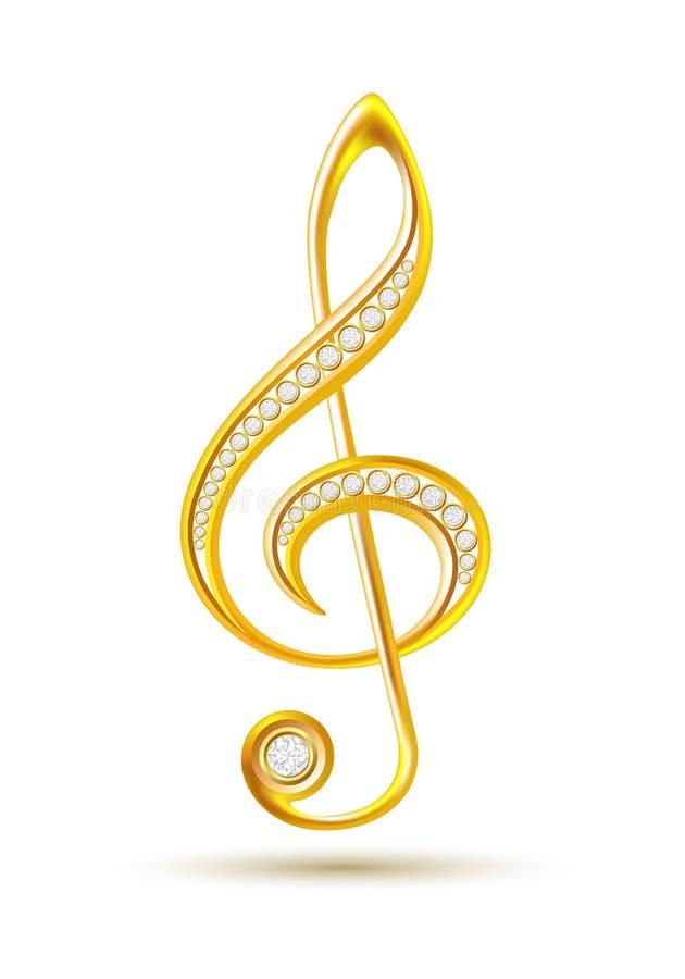 Goldener Violinschlüssel mit Diamanten vektor abbildung