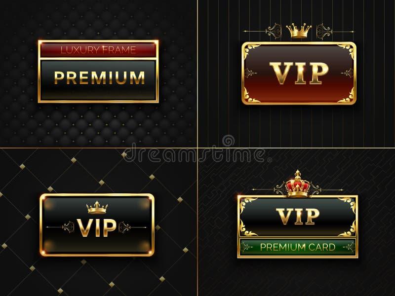 Goldener Vip-Rahmen Erstklassige Fahne mit Goldinsignien krönen Schwarze Luxuseinladungskarte mit Goldrahmen exklusiv vektor abbildung