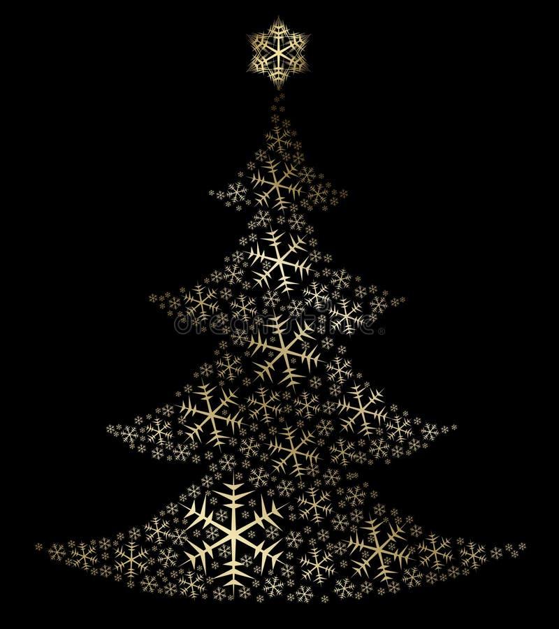 Goldener Weihnachtsbaum stock abbildung