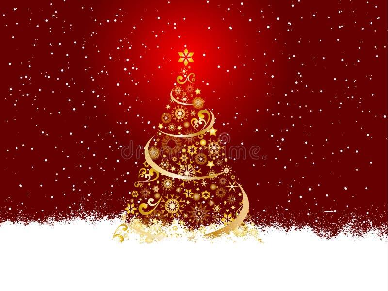 Goldener Weihnachtsbaum lizenzfreie abbildung