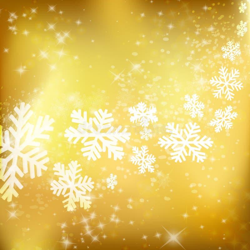 Goldener Weihnachtshintergrund. Abstrakte Winterauslegung mit Sternen und Sn vektor abbildung