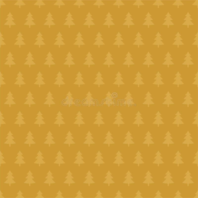 Goldener Weihnachtshintergrund mit helleren goldenen Weihnachtsbäumen in Folge der Reihe nach auf einem dunkleren goldenen Hinter vektor abbildung