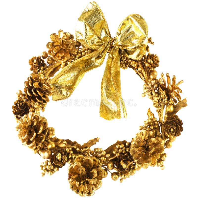 Goldener Weihnachtswreath stockfoto