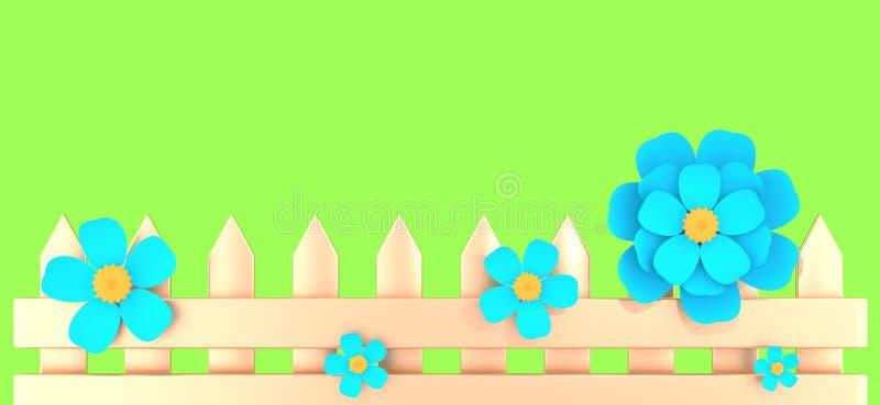 Goldener Zaun und fünf blaue Blumen auf Illustration des Frühlingsgrün-Hintergrundes 3D vektor abbildung