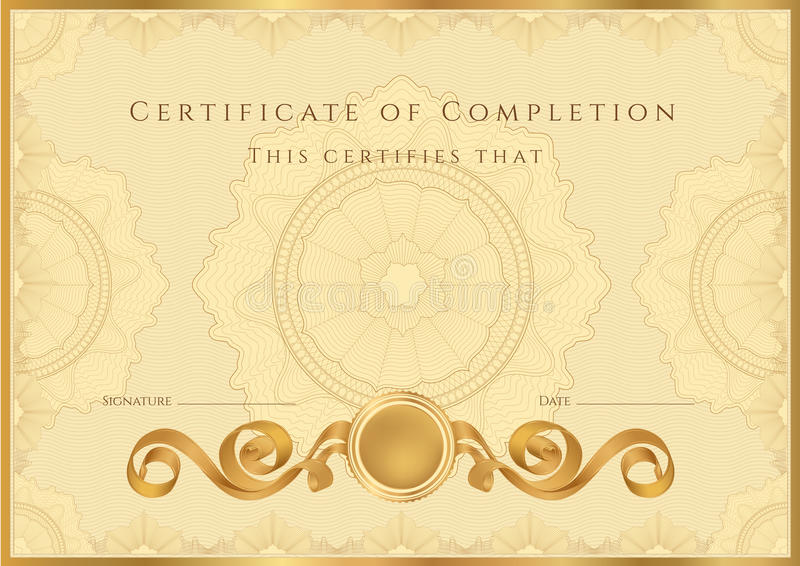 Goldener Zertifikat-/Diplomhintergrund (Schablone) lizenzfreie abbildung