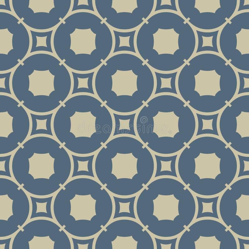 Goldenes abstraktes geometrisches nahtloses Muster Elegantes Gold und weiche blaue Verzierung stock abbildung