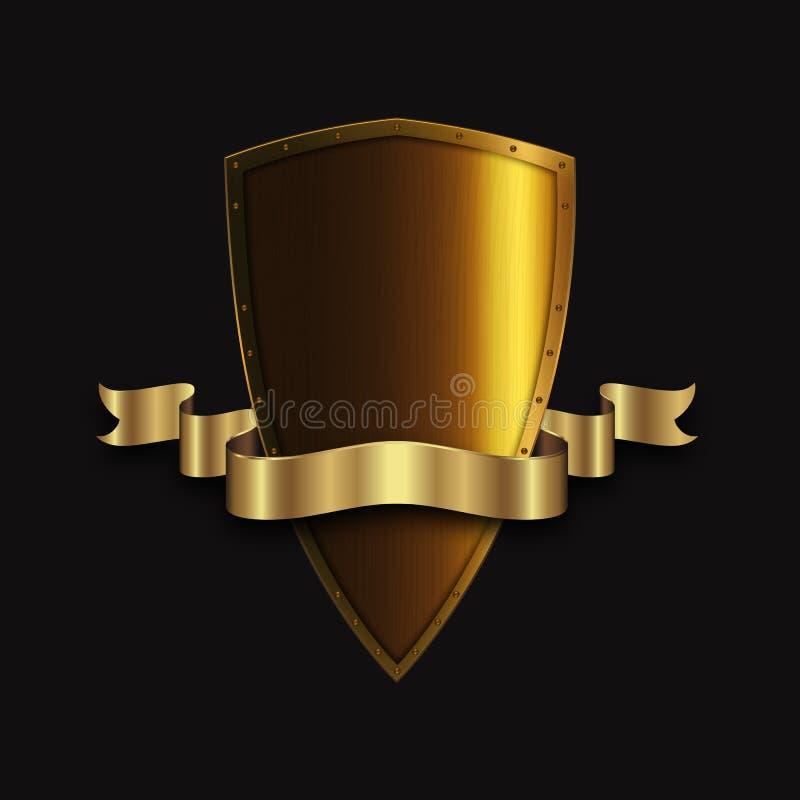 Goldenes antikes Schild mit goldenem Band stock abbildung