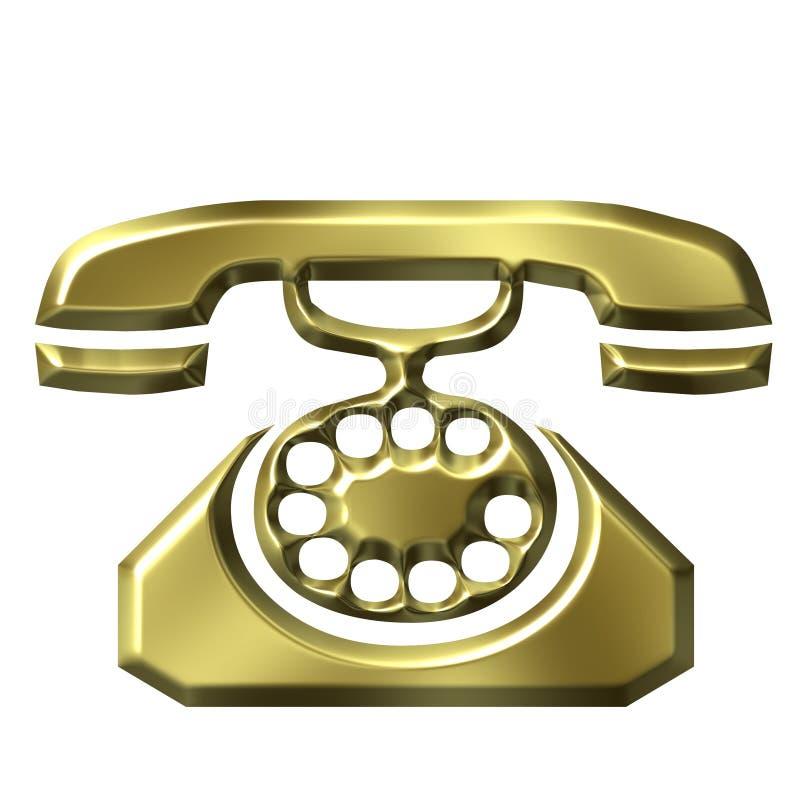Goldenes Antikes Telefon 3D Lizenzfreies Stockfoto