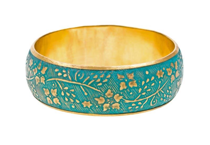 Goldenes Armband der Weinlese getrennt auf Weiß stockbild