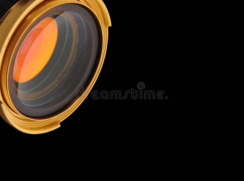 Goldenes Auge - nettes Goldobjektiv stockfotos