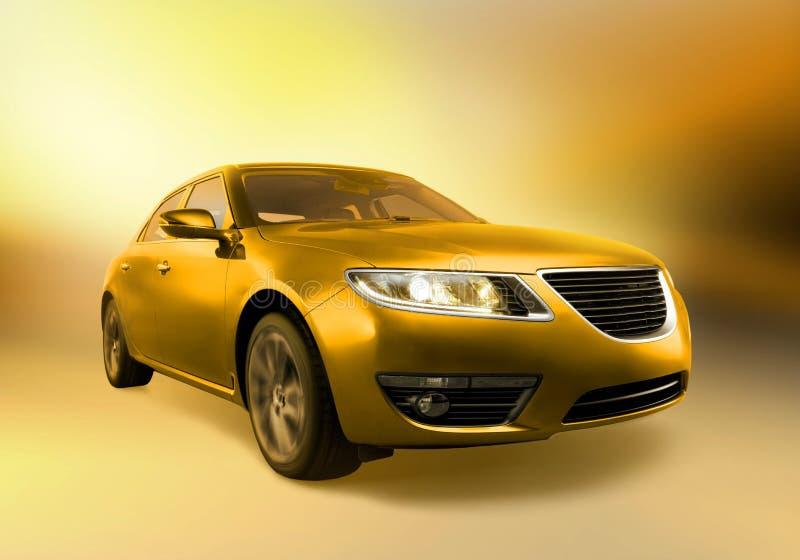 Goldenes Auto in der Bewegung lizenzfreies stockbild